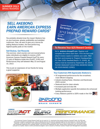 Akebono Launches Summer Promotion, 'Sell Brakes, Get Rewards'