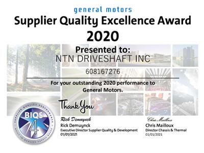 GM NTN Driveshaft Award
